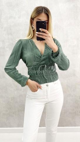 Kruvaze Parlak Bluz - Yeşil