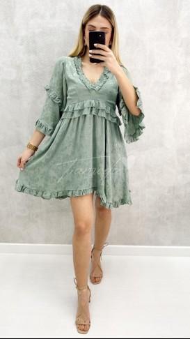Çiçek Baskı Volanlı Elbise - Mint Yeşil