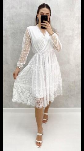 Dantel Detay Şifon Elbise - Beyaz