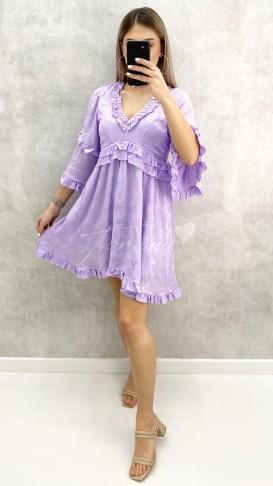 Çiçek Baskı Volanlı Elbise - Lila