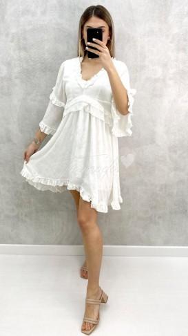 Çiçek Baskı Volanlı Elbise - Beyaz