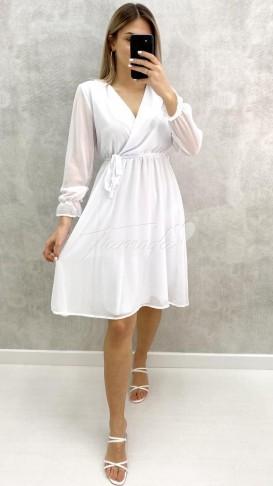Kolları Lastikli Şifon Elbise - Beyaz