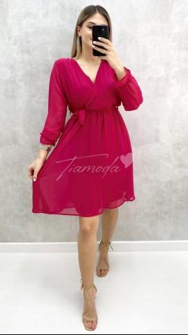 Kolları Lastikli Şifon Elbise - Fuşya