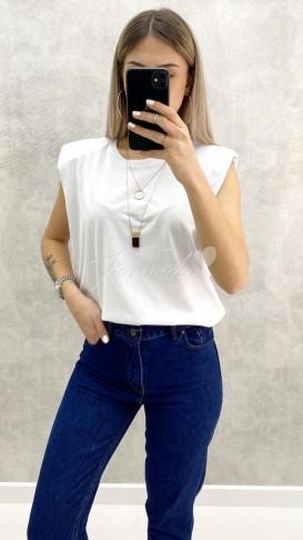 Vatkalı Tshirt - Beyaz