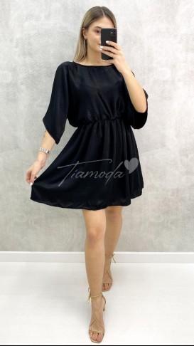 Beli Lastikli Saten Elbise - Siyah