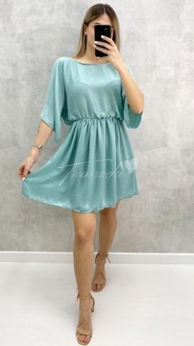 Beli Lastikli Saten Elbise - Buz Mavi