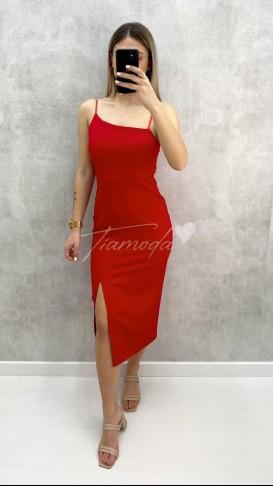 Tek Yırtmaç Askılı Elbise - Kırmızı