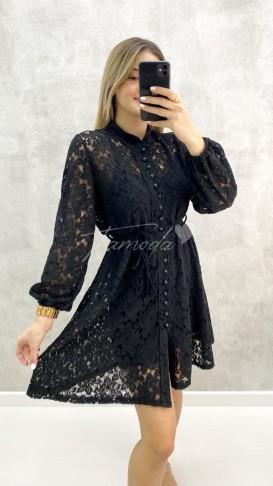 Güpür Elbise - Siyah