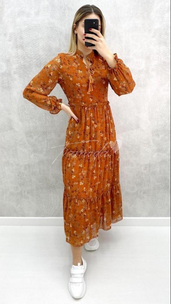 Çıtır Desen Şifon Elbise - Kiremit