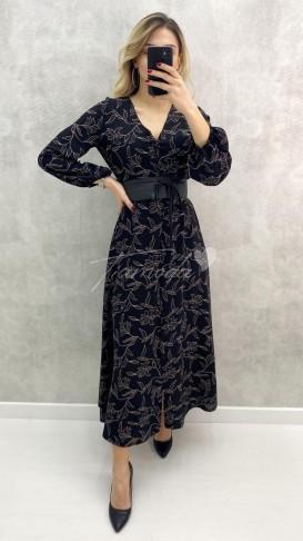 Kuşaklı Gömlek Elbise - Siyah