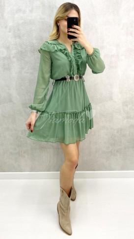 Yaka Fırfır Kemerli Elbise - Mint