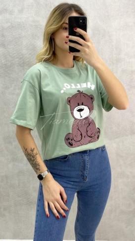 Ayıcık Baskılı Tshirt - Mint