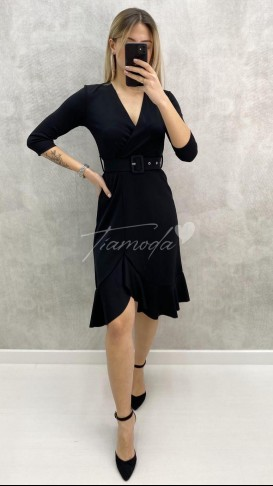 Fakir Kol Kruvaze Elbise - Siyah