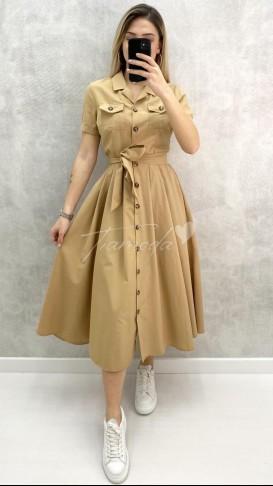 Kısa Kol Pileli Elbise - Bej