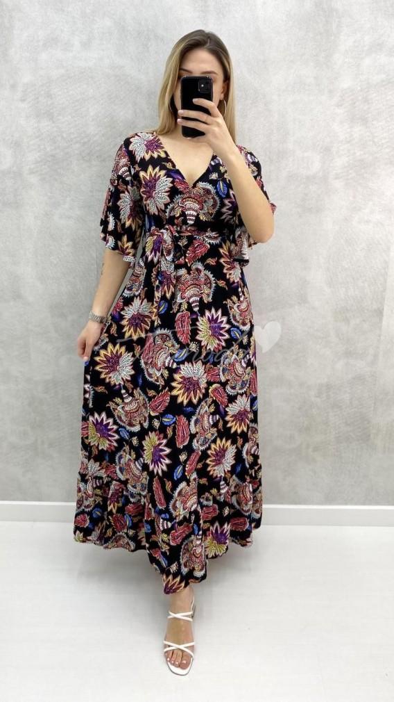 Zambak Desen Çiçekli Elbise-Siyah