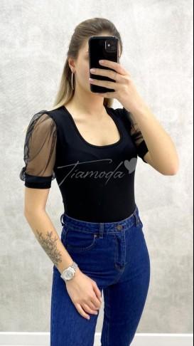 Kare Yaka Kolu Tül Bluz - Siyah