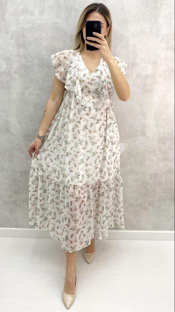 Yaka Fırfır Çıtır Desen Şifon Elbise - Ekru