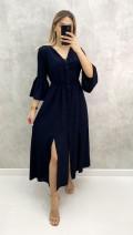 V Yaka Kolu Volanlı Elbise - Siyah