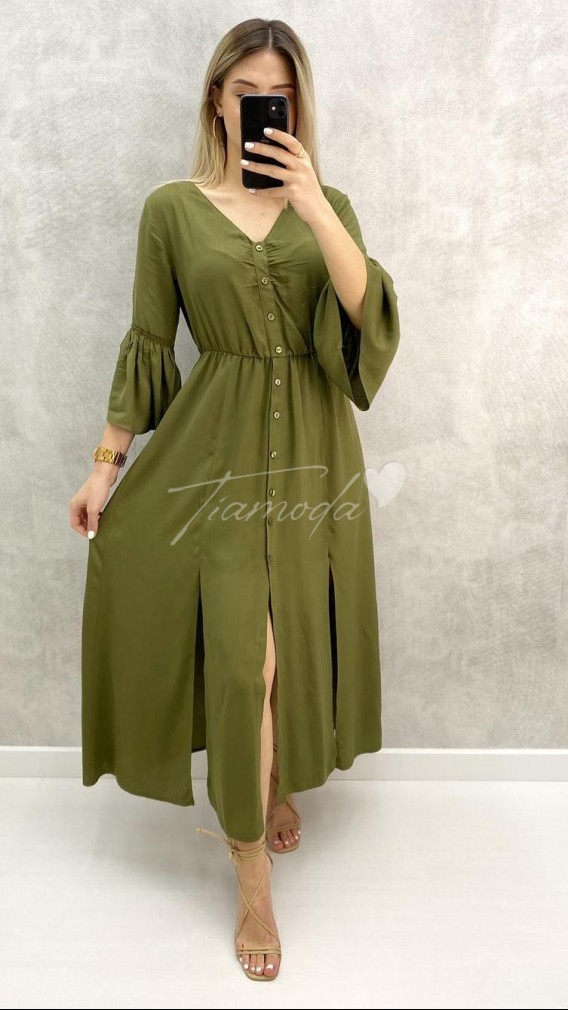 V Yaka Kolu Volanlı Elbise - Haki