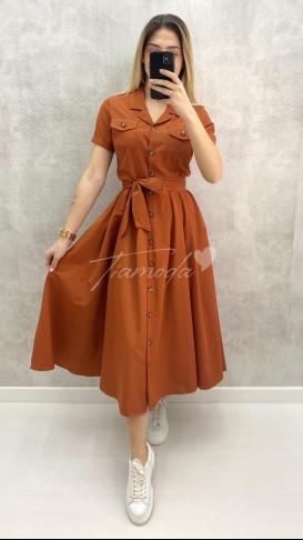 Kısa Kol Piliseli Elbise - Kiremit
