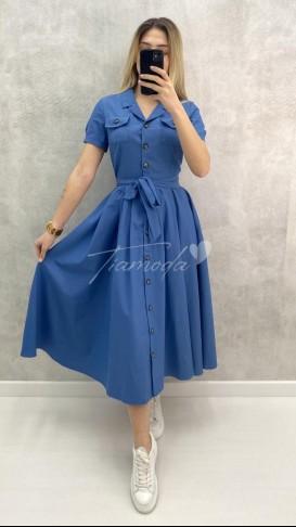 Kısa Kol Pileli Elbise - İndigo