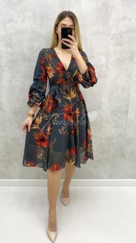 Kolu Büzgü Çiçekli Elbise - Haki