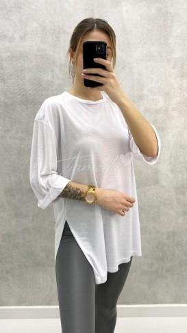 Yırtmaçlı Oversize Tshirt - Beyaz