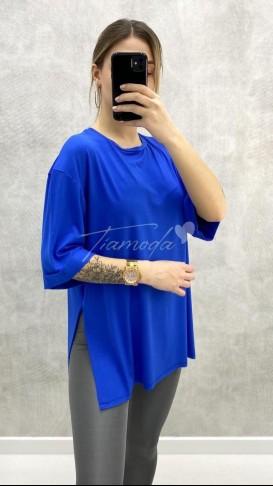 Yırtmaçlı Oversize Tshirt - Saks Mavi