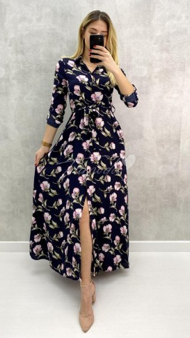 Viskon Kumaş Çiçekli Gömlek Elbise - Lacivert