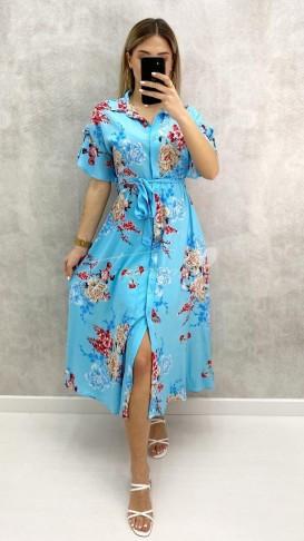 Çiçekli Gömlek Elbise - Mavi