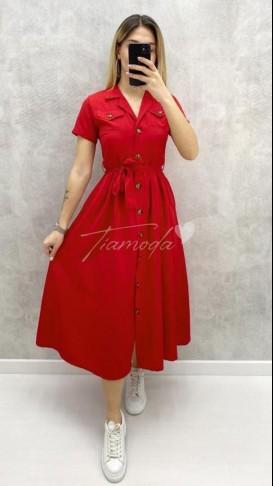 Kısa Kol Piliseli Elbise - Kırmızı
