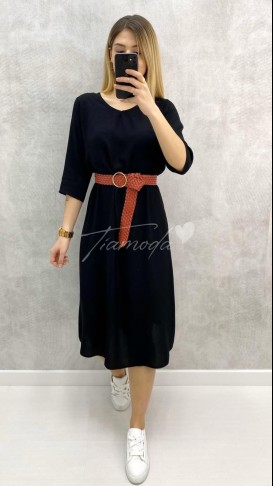 Hasır Kemer Fakir Kol Elbise - Siyah