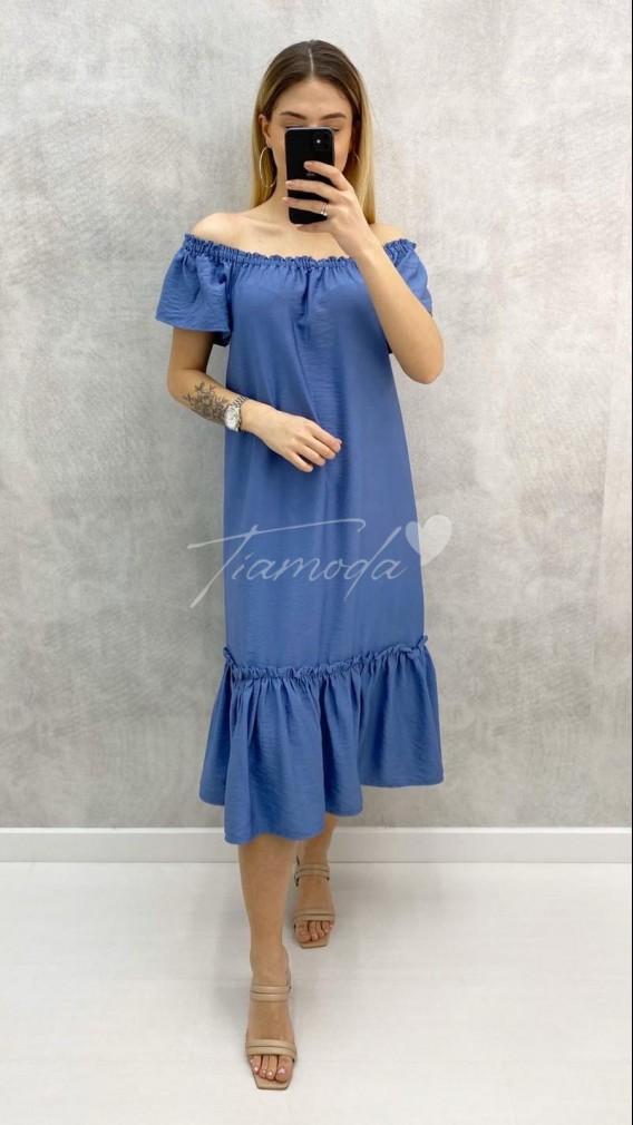 Eteği Volanlı Carmen Yaka Elbise - Mavi