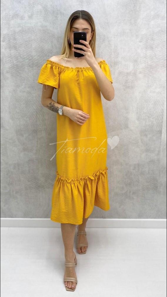 Eteği Volanlı Carmen Yaka Elbise - Hardal