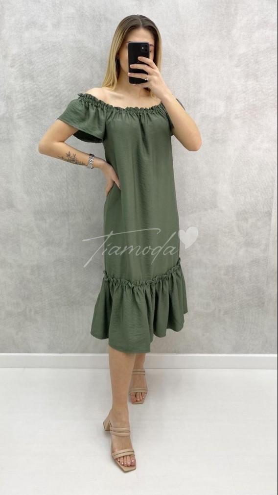 Eteği Volanlı Carmen Yaka Elbise - Haki