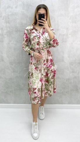 Çiçekli İri Düğmeli Elbise - Pembe