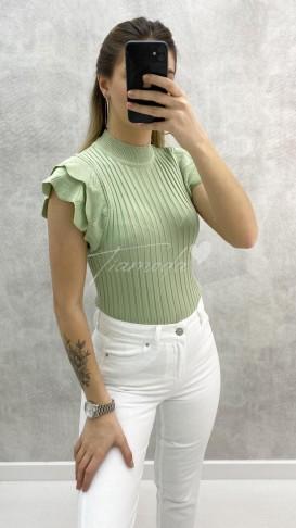 Omuz Detay Fitilli Triko - Mint Yeşil