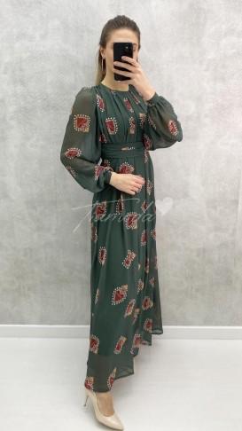 Beli Kuşaklı Maksi Şifon Elbise - Haki