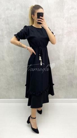 Kısa Kol Püsküllü Elbise - Siyah