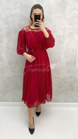 Omuz Dantel Midi Şifon Elbise - Kırmızı