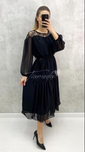 Omuz Dantel Midi Şifon Elbise - Siyah