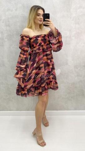 Omuz Açık Desenli Elbise