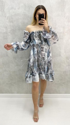 Omuz Açık Desenli Elbise - Beyaz