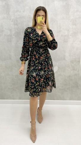 Kolu Büzgü Çıtır Desen Elbise - Siyah