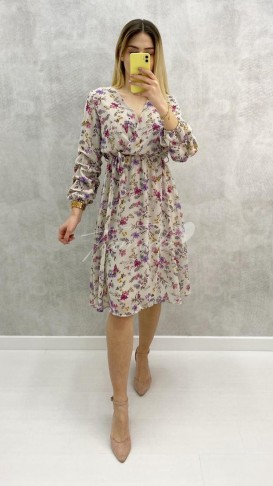 Kolu Büzgü Çıtır Desen Elbise - Ekru