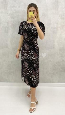 Kısa Kol Çiçekli Midi Elbise - Siyah