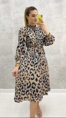 Bel Lastik Desenli Elbise
