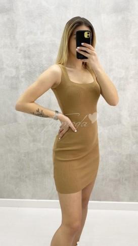 Kare Yaka Çelik Triko Elbise -Taba