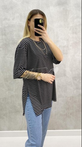 Oversize Çizgili Tshirt - Siyah