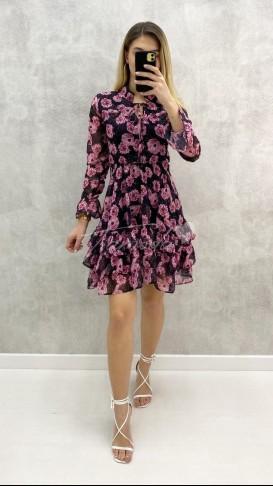 Pembe Çiçekli Şifon Elbise